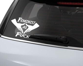 Feminist As Fuck - Roller Derby Helmet or Window Vinyl Sticker Decal
