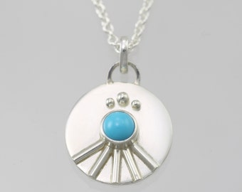 Totem Medallion in Sterling Silver with Turquoise