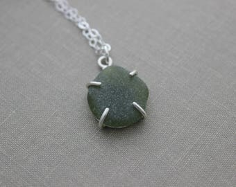 Olive green genuine Sea Glass Sterling Silver Necklace - Claw prong setting -  Eco Friendly Fashion - Deep forest green - Seaglass pendant