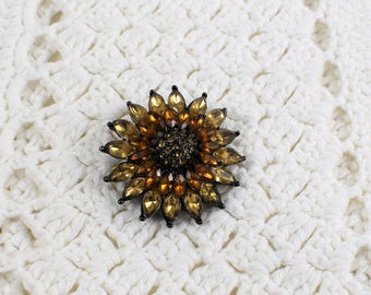 Vintage Brown Rhinestones Flower Pin Brooch