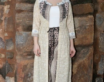 Long Ivory color print Jute Fabric Front Open Cover up Jacket Earthy color yoke