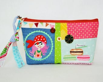 cosmetic bag, pencil pouch, zippered kit, storage items toilet makeup, Cosmetic Bags, patchwork kit, Organization, holiday gift, easter