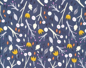 SALE Periwinkle Sweet Autumn Day Organic Cotton Fabric from Cloud 9 Fabrics sold in 1/2 yard increments