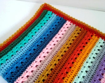 Baby Blanket in Rainbow Colours Crochet