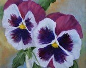 RESERVED for CP,Pansies VI Floral Still Life Painting,Canvas Oil Painting by Cheri Wollenberg