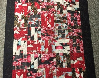 """Red and black Asian flowers lap or couch quilt  45 1/2"""" x 60 1/2""""   Free shipping"""