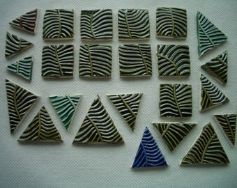 L24 - LEAF pattern SQUARES, Triangles - Ceramic Mosaic Tiles