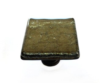 Bronze Iridescent Glass Cabinet Knob Hardware - Square art glass knob for kitchen cabinets, bathroom vanity, or decorate a dresser