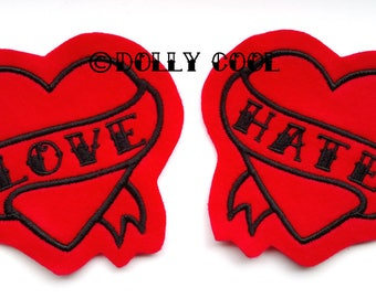 Tattoo Heart Patch Pair of Black on Red love and hate tattoo style sew on