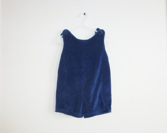Vintage Navy Velour Toddler Romper