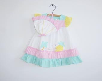 Vintage Pastel Tropical Summer Dress