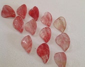 Strawberry cherry rose quartz hand carved leaves lot of 12