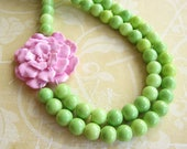Flower Necklace Statement Necklace Beaded Necklace Green Jewelry Pink Necklace Bridesmaid Jewelry Gift For Her