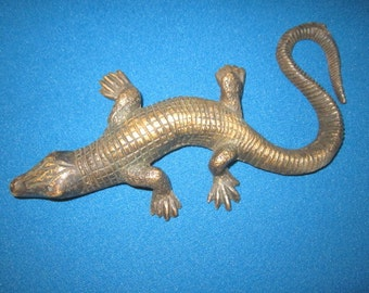 "Vintage Cast Brass 8"" Lizard Sculpture from Midwest Estate"