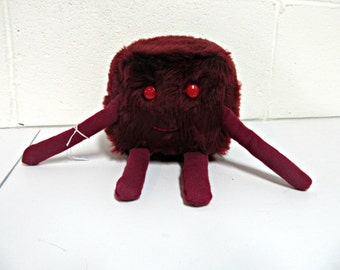 Plush Monster - Cube Dude - Handmade - Maroon Red Faux Fur & Fleece Plushie - Softie - Cute Monster Plush Toy - Minecraft Inspired - Block