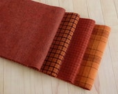 """Hand Felted Wool, Pumpkin Spice, Four  6.5"""" x 16"""" pieces in Orange and Rust, for Rug Hooking, Applique and Crafts"""