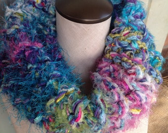 HANDMADE COWL made from orphaned/spare yarn, gorgeous and dramatic, infinity scarf