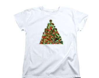Christmas Tree T-shirt, Fancy Digital Design, Holiday Celebration Clothing, Green Red Swirls, Women's Fit, Geometric Snowflake Shapes