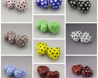 Handmade Lampwork Heart Beads Polka Dots Black, Ivory, Yellow, Blue, Purple, Red, Green Earring Pair Heather Behrendt BHV SRA LETeam