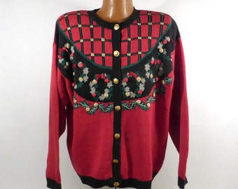 Ugly Christmas Sweater Vintage Cardigan Party Holiday Tacky Wreaths Women's size 2X