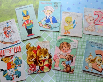 Happy Birthday Two Year Old Over the Course of 3 Decades in Vintage Birthday Lot No 149 Total of 9 cards