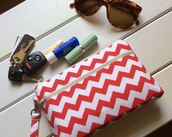 Red chevron makeup bag, cell phone wristlet , credit card zipper pouch, iPhone purse