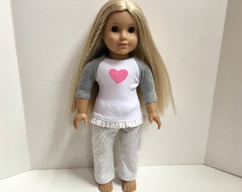 18 Inch American Made Girl Doll Clothes - Heart Flannel Pajamas