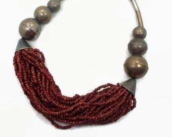Boho Necklace, Choker, India, Big Statement, Wood, Wooden, Oversized, Silver, Tribal Ethnic, NOS, 1970s Boho, Gypsy Jewelry, Bohemian