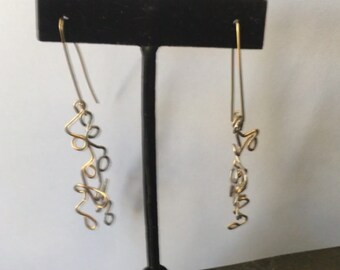 A pair of Sterling and 14kt  Gold Filled Wire Earrings