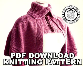 Mantelet Knitting PATTERN, R. E. Linwelin, PDF DOWNLOAD
