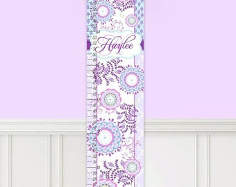 Canvas GROWTH CHART Blue Purple Patterned Girls Bedroom Baby Nursery Wall Art GC0307