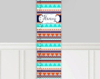 Canvas GROWTH CHART Tribal Navy and Orange Kids Bedroom Nursery Personalized Kids Growth Chart Height Chart GC0317