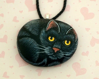 OOAK 3D kitty art-gift for her-hand painted pet rocks-black cat pendant-hand painted stone necklace-cat jewelry-cat necklace-crazy cat lady