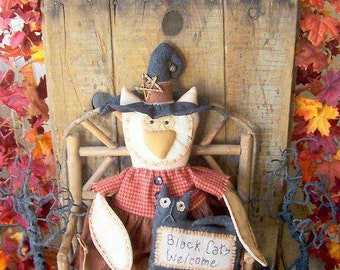 """PriMiTiVe Halloween Owl Witch Art Doll Pet Black Cat Welcome """"Hooty and Boo"""" Hafair Faap"""