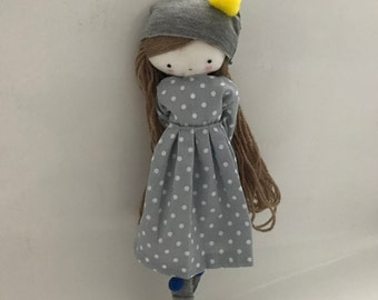 Made to order rag doll , Laia- ooak cloth art rag doll polka dots dress, hat and sockstoys for girls