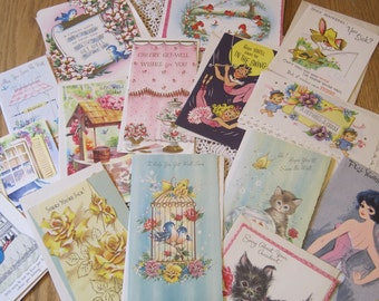 Lot of 15 Vintage and Retro Get Well Greeting Cards Unused with Envelopes