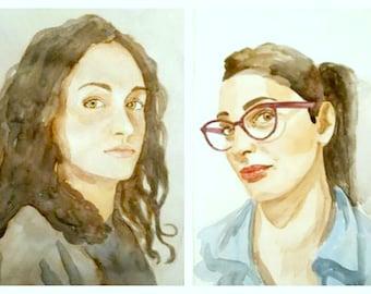 custom watercolor portrait painting, woman, girl, man, boy, children, elderly