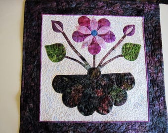 Quilted wall hanging modern wall art applique purple  small wall decoration