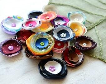 Fabric flowers, applique grab bag , handmade organza appliques, floral embellishments (20 pcs)- Grab Bag in Assorted Colors (mix set 340)