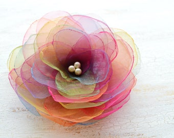 Handmade organza flower brooch, fabric flower, floral accessory, flower brooch, organza flower brooch - RAINBOW BLOSSOM
