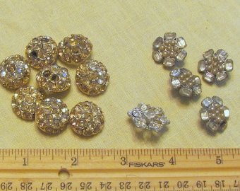 Vintage shank buttons with rhinestones and pearls