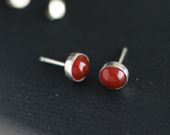 Carnelian Post Earrings Sterling- Free Shipping
