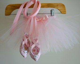 Baby Ballet Shoes - Newborn Ballet Shoes - Baby Ballerina - Newborn Ballerina - Ballet Slippers - floral ballet shoes - newborn photo props