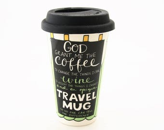 Mother's Day gift - Ceramic travel mug -  wine in here - gift for Mom who loves wine - funny gift for Mom - DL