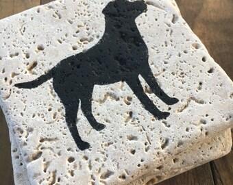 Labrador Retriever Painted Stone Tile Coasters