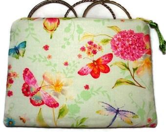 Padded Zipper Cosmetic Pouch in Veranda Garden Butterfly Print