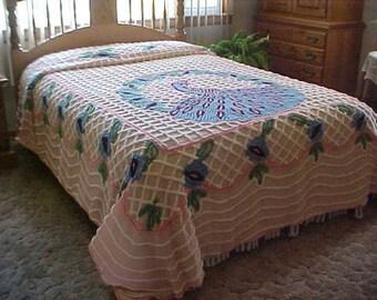 "Vintage Peacock cotton Chenille bedspread-throw 90X100 "" Nice"