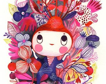 Little Garden Spirit... - limited edition giclee print of an original watercolor illustration (8 x 10 in)