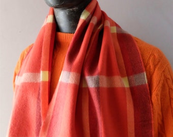 Vintage Cashmere Scarf in Sherbet Colors w/ Fringe Winter Unisex Chic