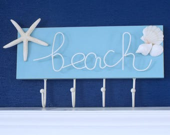 "BEACH DECOR SIGN board with metal hooks, ""beach"" hook rack, metal ""beach"" hangup, lightweight coat rack, nautical, coastal, cottage decor"